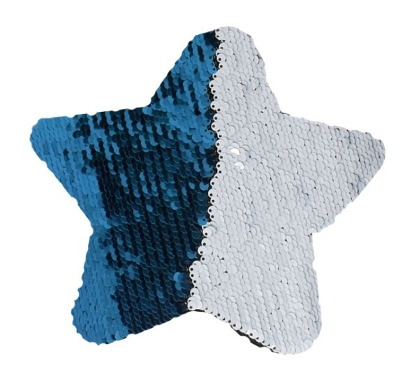 OBM - Aplique de Lantejoulas Dupla Face Estrela 18 X 18cm Azul Claro e Branco Sublimáticos ShopVirtua3000® (2184) - 01 Unidade