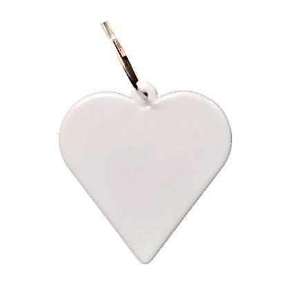 Chaveiro Em Polímero Branco para Sublimação Formato Coração Com Argola - Pacote Com 10 Unidades