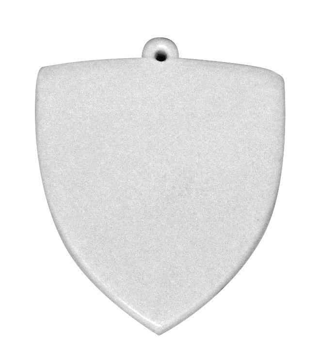 Chaveiro Em Polímero Branco para Sublimação Formato Escudo Com Argola - Pacote Com 10 Unidades