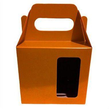 Caixinha para Caneca Laranja Com Visor e Alça Reforçada Em Papel Duplex 275g 10cm x 10cm para Canecas ou Artigos Diversos (AL3011) - 10 Unidades