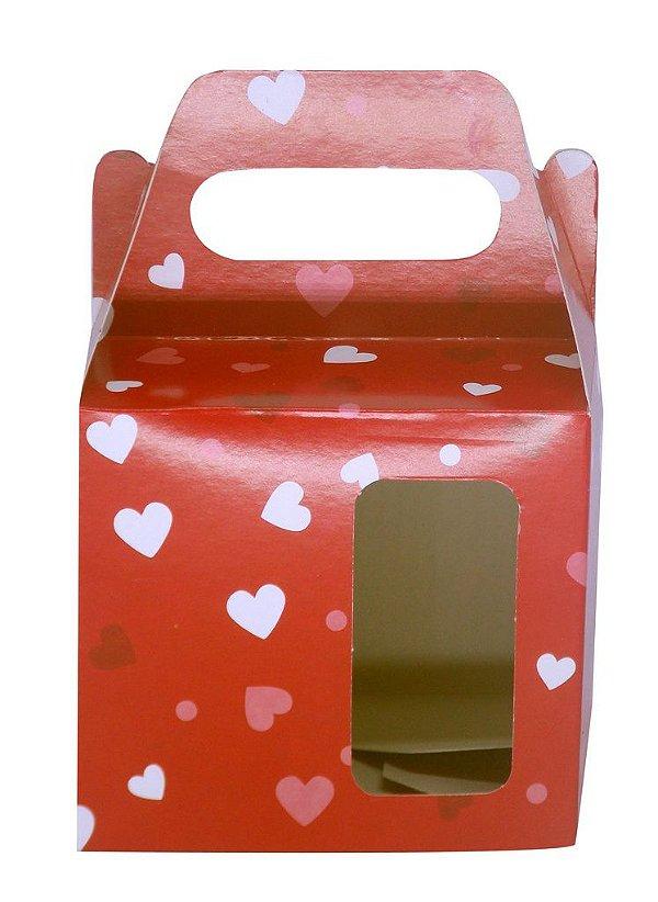 Caixinha de Caneca Vermelho C/ Coração Janela Fundo Automático (AL3026) - 100 Unidades