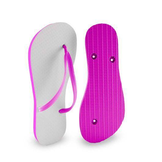 Chinelo Borracha Sublimático Modelo Tira Slim Rosa Pink Adulto 37/38 Embalado a Vácuo não Suja ou Amarela (JD8090) - 01 Unidade