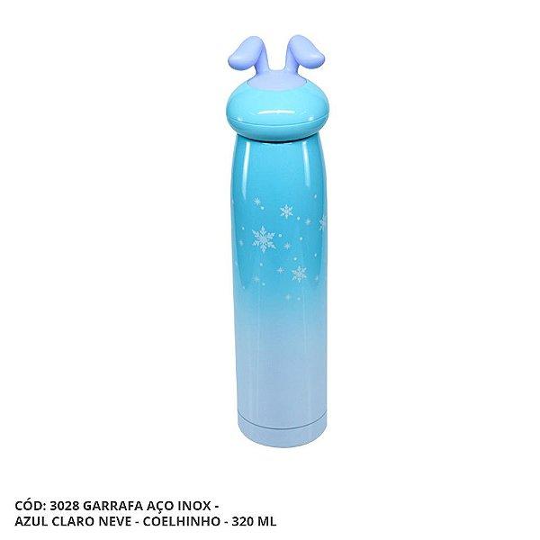 Garrafa Térmica Linha Luxo Coelhinho em Inox Sublimável Azul Claro Neve 320ml (ShopVirtua3000®) (3028) - 01 Unidade (PROMO BOAS FESTAS)