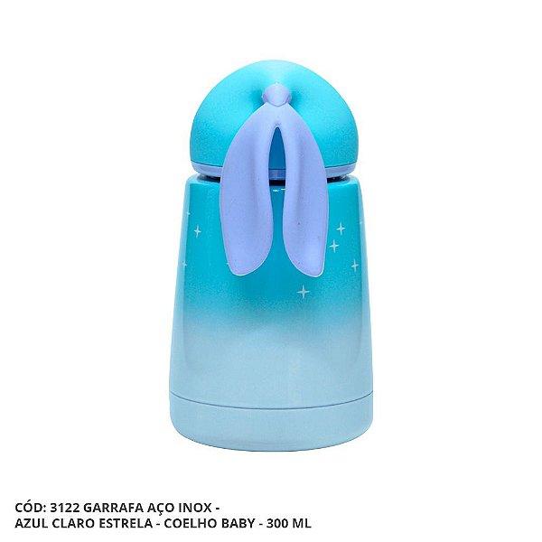Garrafa Térmica Linha Luxo Coelho Baby em Inox Sublimável Azul Claro Estrela 300ml (ShopVirtua3000®) (3122) - 01 Unidade