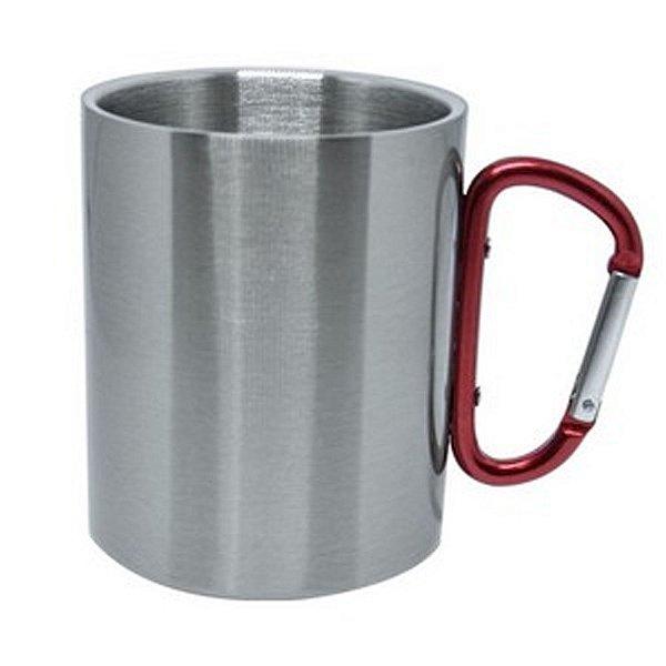 Caneca Inox Prata 300 ml com Alça Mosquetão Vermelho Resinada para Sublimação (2993) - 01 Unidade (Promoção Natal)