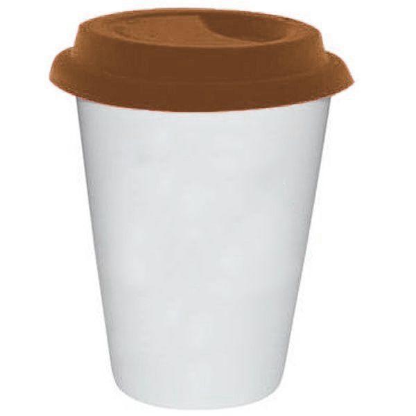 Copo Cônico Branco de Cerâmica Modelo Starbucks 300ml Para Sublimação - Tampa Marrom - 01 Unidade