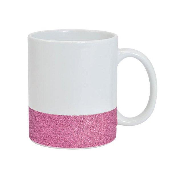 Caneca Cerâmica Base Glitter Rosa ShopVirtua3000® 325ml Resinada P/ Sublimação (2948) - 01 Unidade