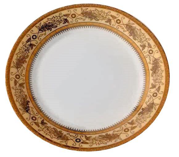 Prato de Porcelana Branco para Sublimação com Borda Decorada em Dourado 20cm (2785) - 01 Unidade