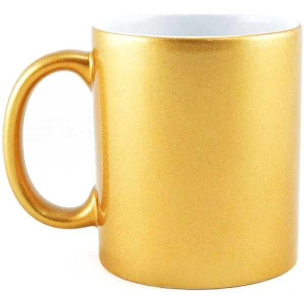 Caneca Cerâmica Dourada Metalizada 325ml Resinada P/ Sublimação (259) - 36 Unidades