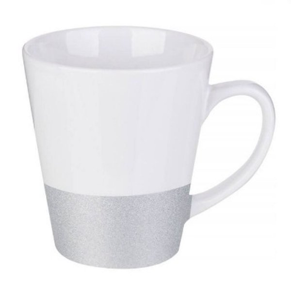 Caneca Cerâmica Cônica Base Glitter Prata ShopVirtua3000® 325ml Resinada P/ Sublimação (2955) - 01 Unidade