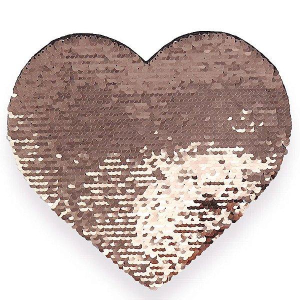 OBM - Aplique de Lantejoulas Dupla Face Coração 19x22cm Rose e Branco Para Sublimação (3030)