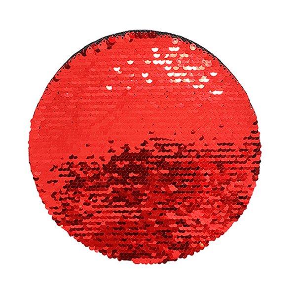 OBM - Aplique de Lantejoulas Dupla Face Redondo 19cm Vermelho e Branco Para Sublimação (2176)