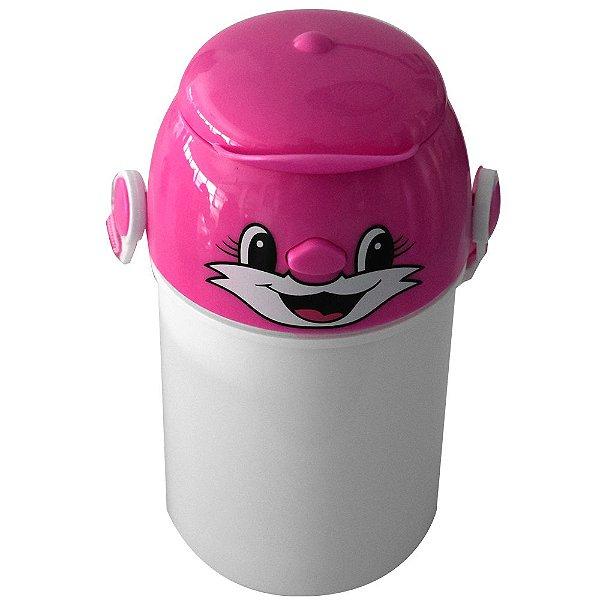 Garrafa Infantil Para Sublimação em Plástico Com Tampa Decorativa Rosa 400ml (2370) - 01 Unidade (Dia das Crianças)