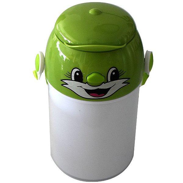 Garrafa Infantil Para Sublimação em Plástico Com Tampa Decorativa Verde 400ml (2372) - 01 Unidade (Dia das Crianças) (PROMO BOAS FESTAS)