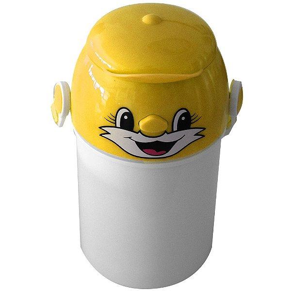 Garrafa Infantil Para Sublimação em Plástico Com Tampa Decorativa Amarela 400ml (2373) - 01 Unidade (Dia das Crianças) (PROMO BOAS FESTAS)