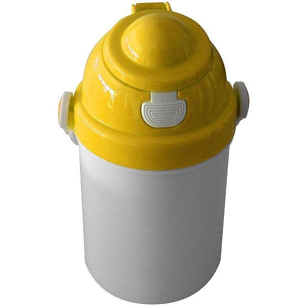 Garrafa Infantil Para Sublimação em Plástico Com Tampa Simples Amarela 400ml (2377) - 01 Unidade (Dia das Crianças)