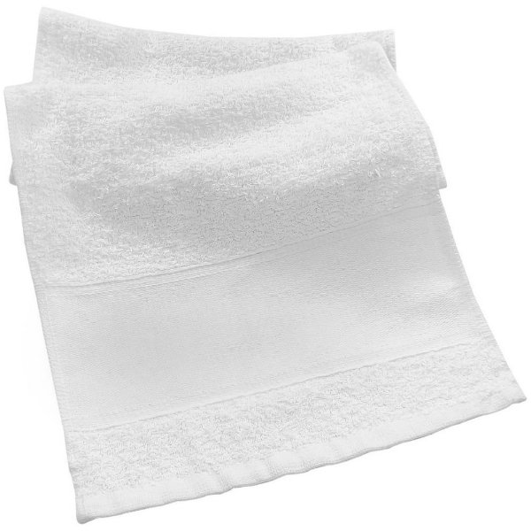 Toalhinha de Mão 34x22cm Branca com Faixa Para Sublimação