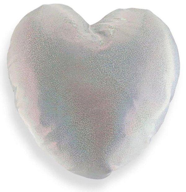 Capa de Almofada Glitter Prata Para Sublimação Formato de Coração 39x40cm (2972)