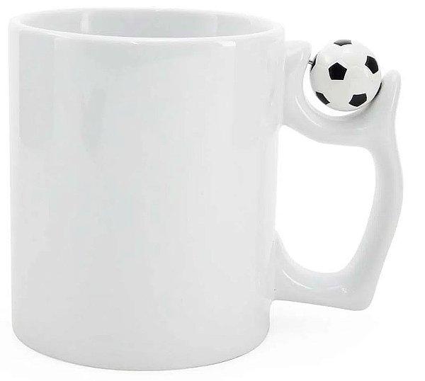 Caneca Cerâmica Branca Alça com Bola Futebol 325ml Resinada P/ Sublimação (257) - 01 Unidade
