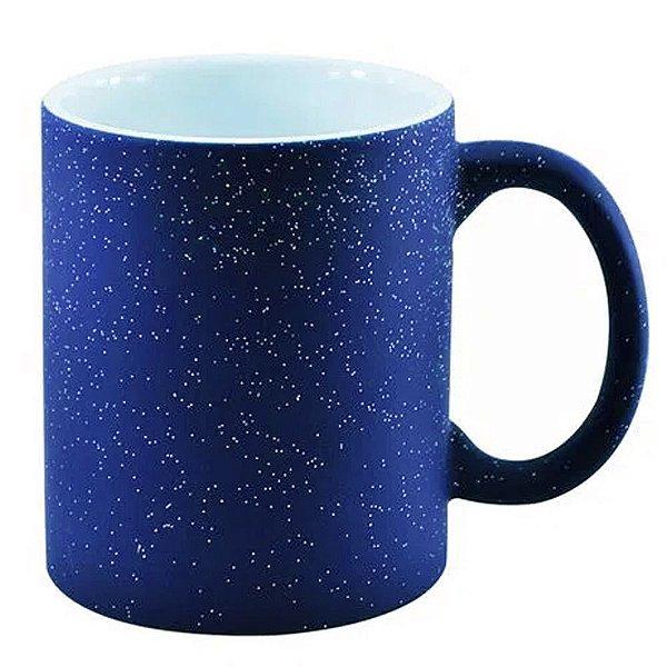 Caneca Cerâmica Mágica Azul Fosca Com Glitter 325ml Resinada P/ Sublimação (3224) - 36 Unidades
