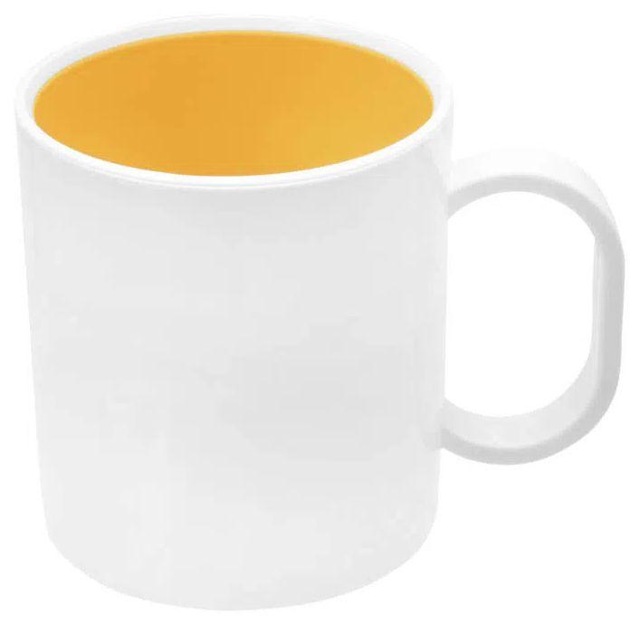 Caneca de Polímero Branca com Interior Amarelo 350ml P/ Sublimação - 01 Unidade