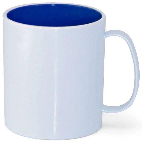 Caneca de Polímero Branca com Interior Azul Royal 350ml P/ Sublimação - 01 Unidade