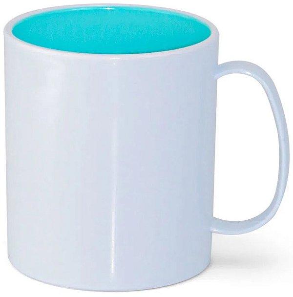 Caneca de Polímero Branca com Interior Azul Bebê 350ml P/ Sublimação - 01 Unidade