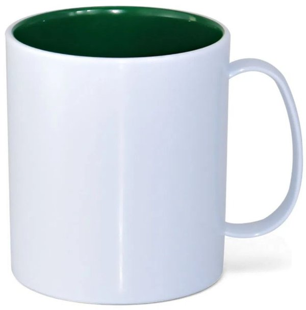 Caneca de Polímero Branca com Interior Verde Escuro 350ml P/ Sublimação - 01 Unidade