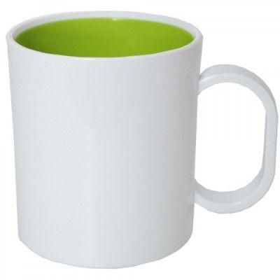 Caneca de Polímero Branca com Interior Verde Claro 350ml P/ Sublimação - 01 Unidade