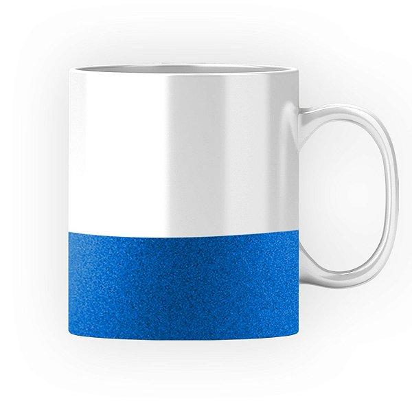 Caneca Cerâmica Base Glitter Azul ShopVirtua3000® 325ml Resinada P/ Sublimação (2952) - 01 Unidade
