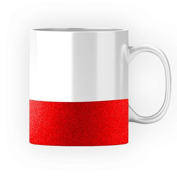 Caneca Cerâmica Base Glitter Vermelha ShopVirtua3000® 325ml Resinada P/ Sublimação (3308) - 01 Unidade