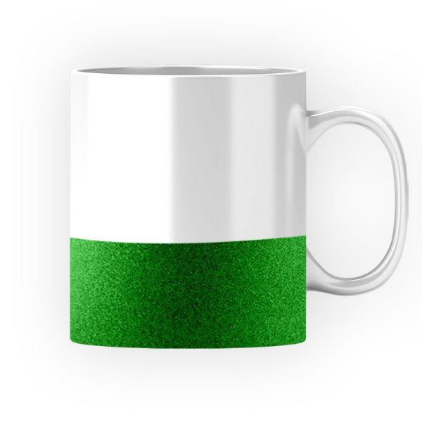 Caneca Cerâmica Base Glitter Verde ShopVirtua3000® 325ml Resinada P/ Sublimação (3310) - 36 Unidades