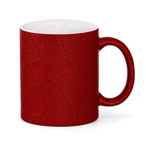 Caneca Cerâmica Glitter Vermelha ShopVirtua3000® 325ml Para Sublimação (3307) - 36 Unidades
