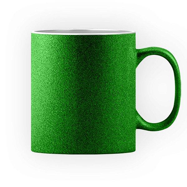Caneca Cerâmica Glitter Verde ShopVirtua3000® 325ml Para Sublimação (3309) - 36 Unidades