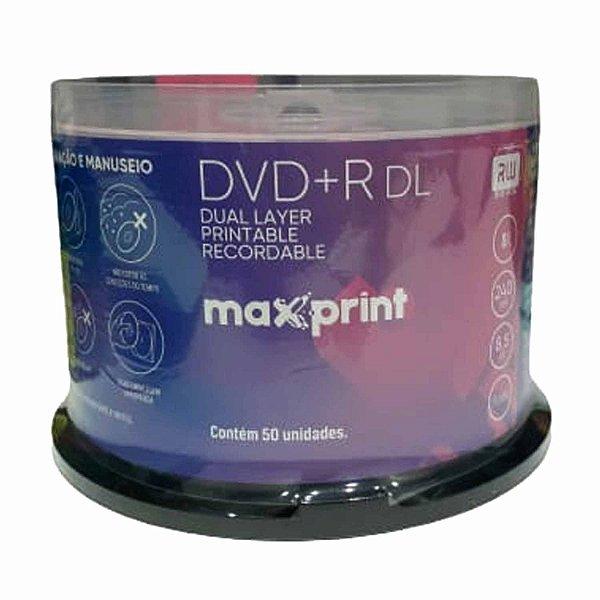 DVD+r DL MaxPrint 8X 8.5GB Dual Layer Printable - 50 Unidades (Shrink Lacrado)