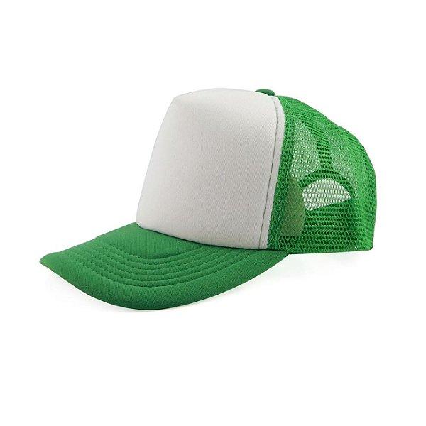Boné de Tela e Aba Verde Escuro com a Frente Branca para Sublimação - Tamanho Único - 01 Unidade (3396)