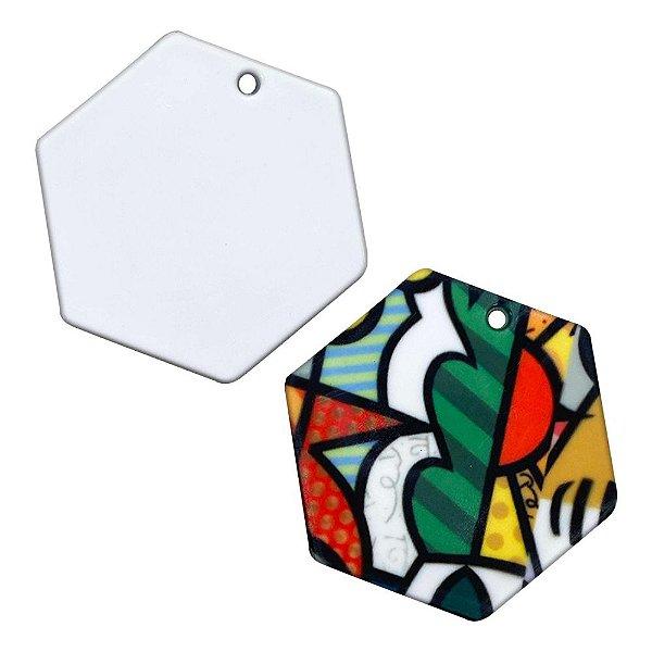 Chaveiro Polímero Branco para Sublimação Formato Hexágono 4x3,5 cm Com Argola - 10 Unidades
