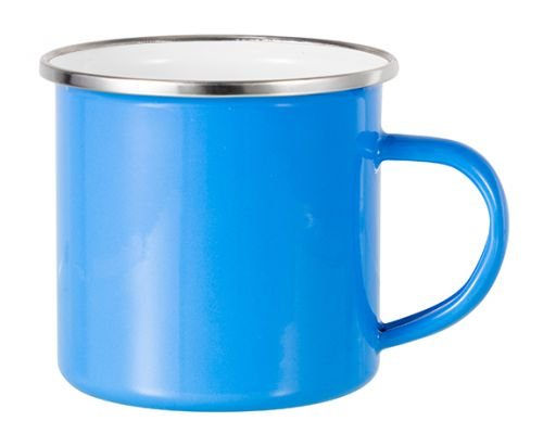 Caneca Enamel Inox Azul Tiffany Esmaltada Borda Prata 325ml Para Sublimação (3356) - 01 Unidade