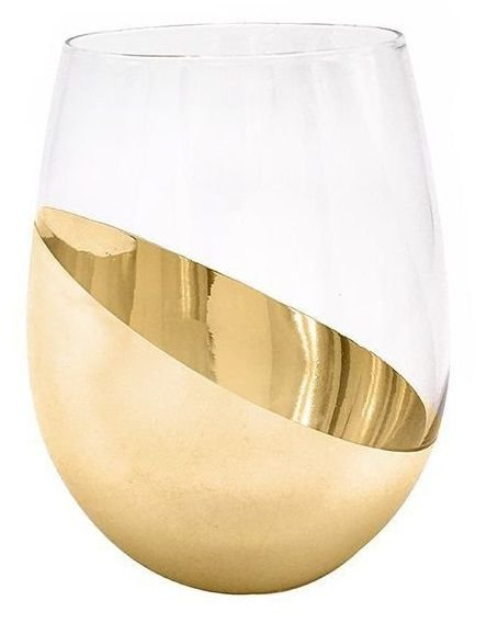 Copo de Vidro Cristal Sublimático Cromado Meia Lua Dourada 540ml (Linha Elegance) (2695) - 01 Unidade