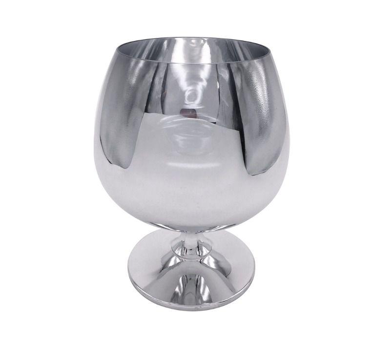 Taça de Vidro Cristal Sublimática Cromada Prata Para Conhaque 635ml (Linha Elegance) (2706) - 01 Unidade