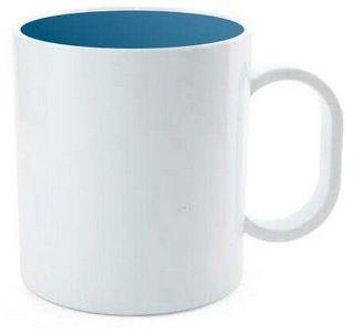 Caneca de Polímero Branca com Interior Azul Metalizado 350ml P/ Sublimação - 01 Unidade