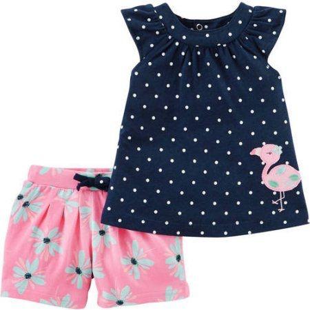 Conjunto 2 peças bata azul marinho e short rosa floral Flamingo Child of Mine made by CARTERS