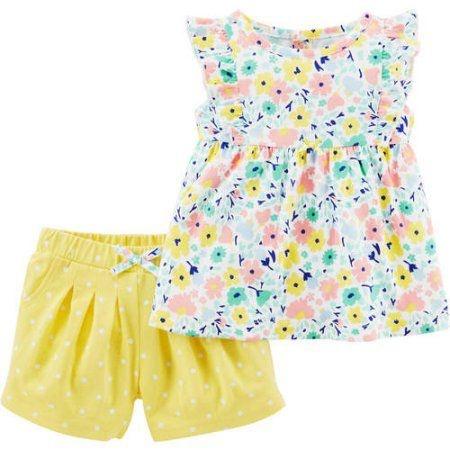 Conjunto 2 peças bata floral com short amarelo Child of Mine made by CARTERS