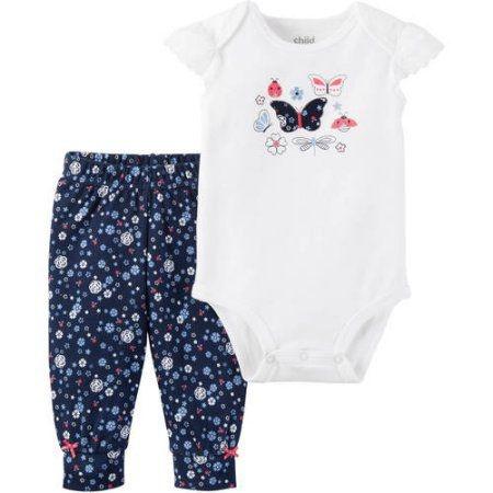Conjunto 2 peças body com renda e calça azul marinho florida Child of Mine made by CARTERS