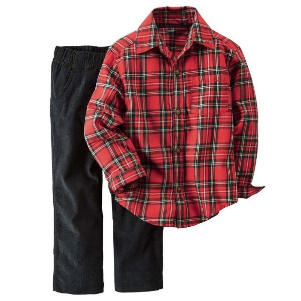 Conjunto 2 peças camisa xadrez vermelha e calça preta em veludo - CARTERS