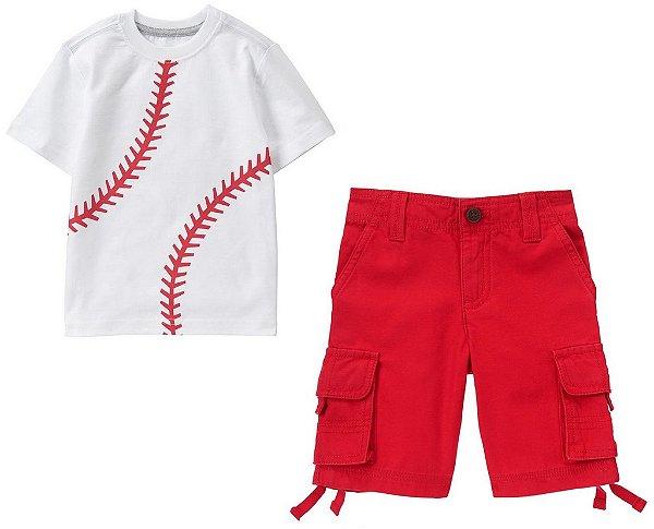 Conjunto 2 peças camiseta estampa Beisebol com bermuda vemelha - GYMBOREE