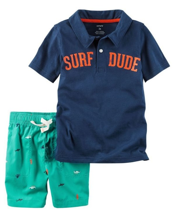 Conjunto 2 peças camiseta polo azul marinho Surf com short verde  - CARTERS