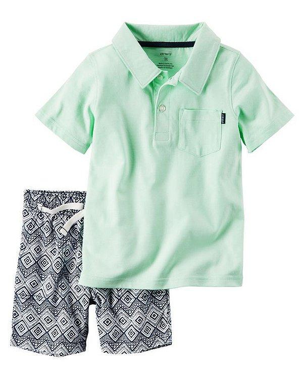 Conjunto 2 peças camiseta polo verde claro com short azul marinho estampado - CARTERS