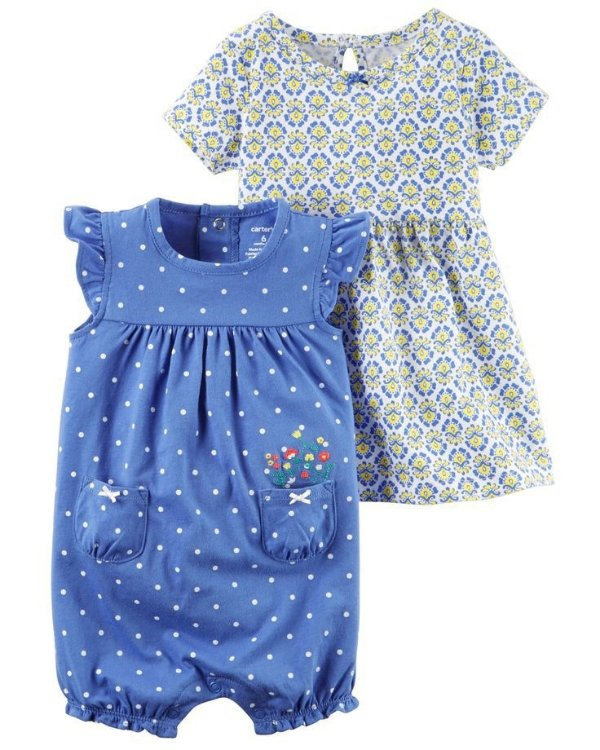 Conjunto 2 peças romper poá azul com vestido estampado - CARTERS