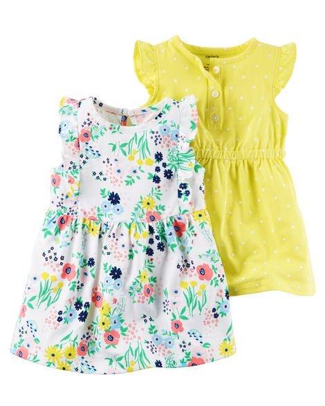 Conjunto 2 peças vestido branco florido e vestido amarelo bolinhas brancas - CARTERS